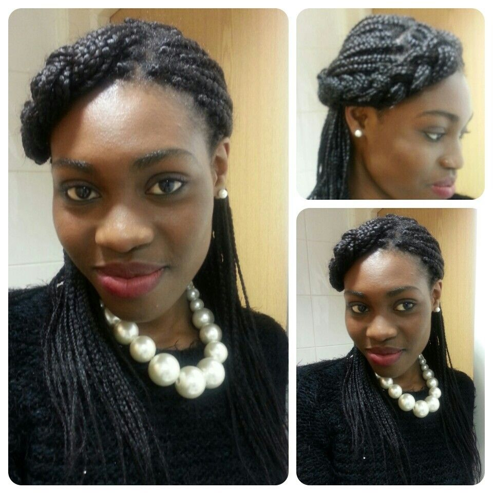 My style i created a side parting braided the top round to the