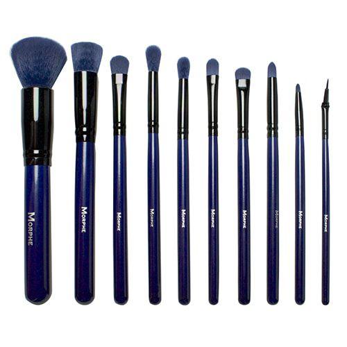 morphe brushes blue. morphe brushes 695 10 piece 3d pattern navy blue brush set e