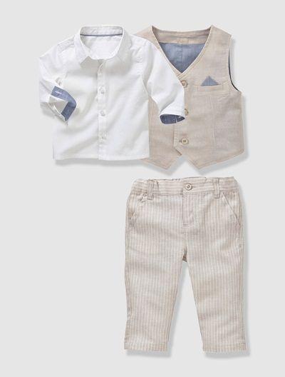 49e9f5400caa5 Ensemble de cérémonie bébé garçon 3 pièces Ficelle - vertbaudet enfant