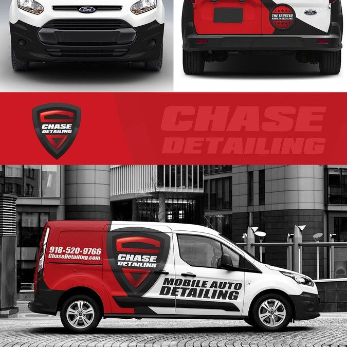 Create a minimalist van wrap for chase detailing