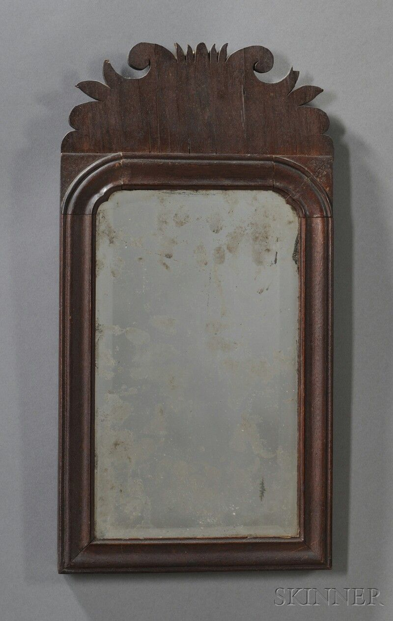 Mirror Probably New England Mid 18th Century With Scrolled