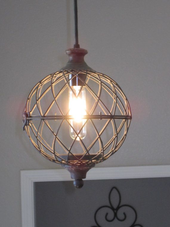 Rustic metal globe pendant light by outofthewdworkdesign on etsy