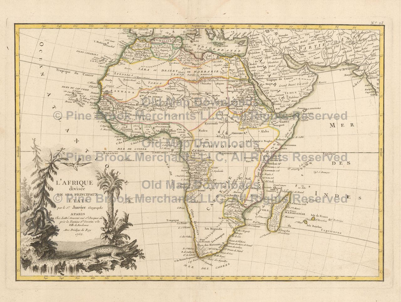 African Continent Old Map Janvier 1762 Digital Image Scan ... on