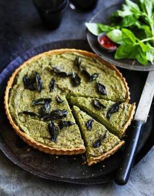 Vegan delight: Pea, basil and eggplant tart.