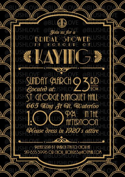 great gatsby bridal shower invitation digital file by blushlove 800