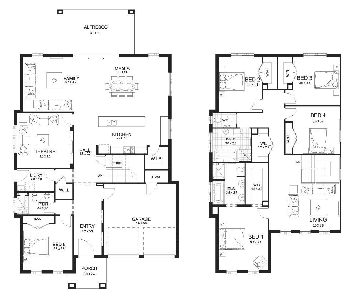 Evoque 40 Double Level Floorplan By Kurmond Homes New Home Builders Sydney Nsw House Layout Plans Cottage Floor Plans Double Storey House Plans