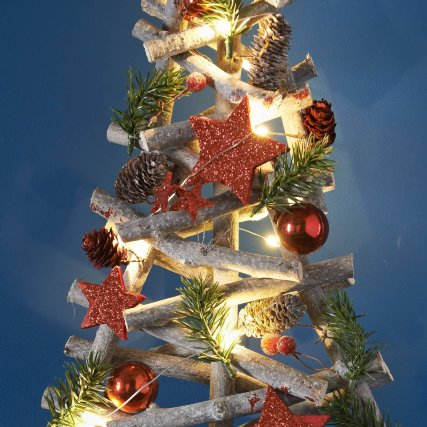 PreLit Floristry Christmas Tree 55cm Red Xmas B&M
