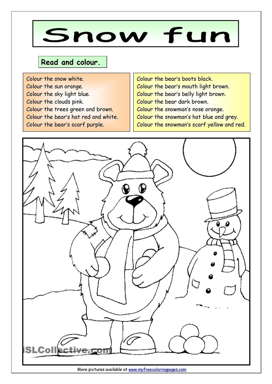 Read and Colour Snow Fun Color, Snow fun, English