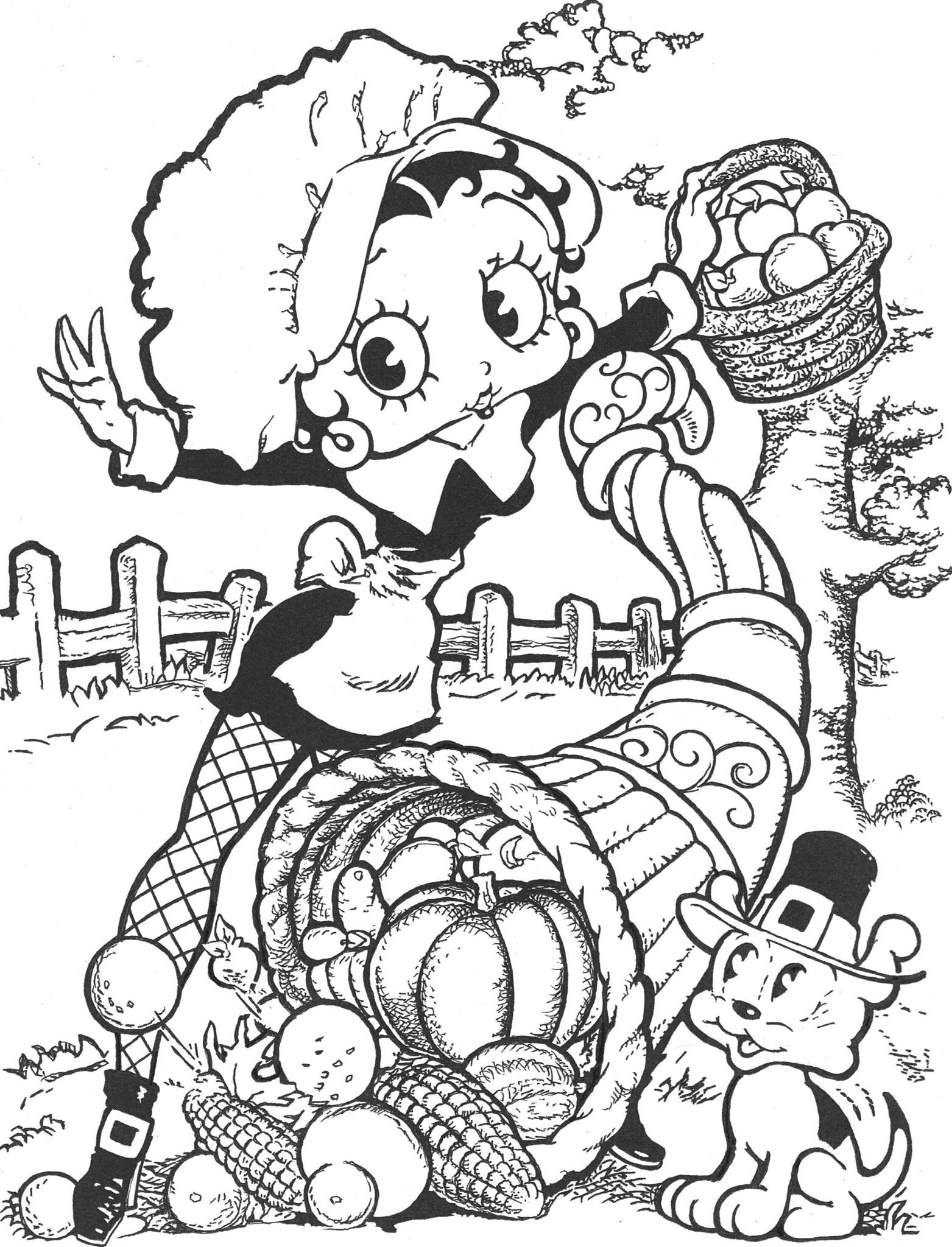 Betty Boop Happy Thanksgiving Coloring Page Betty Boop Betty Boop Pictures Coloring Pages