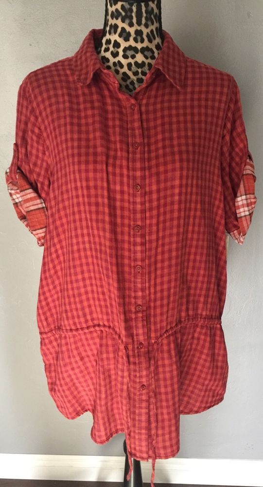 2afce076d67f9 Women s Sonoma Button Down Shirt XL Checks Plaid Red Orange Conver Sleeve  B18