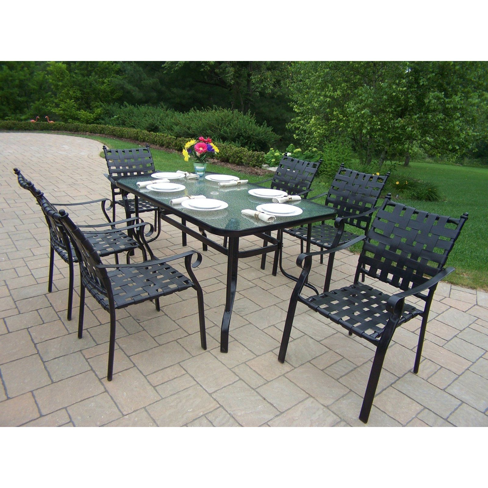 Oakland Living Web 7 Piece Patio Dining Set   The Open Space And Fresh Air  Of Outdoor Dining Can Automatically Create An Unhurried Air Of Relaxation  No ...