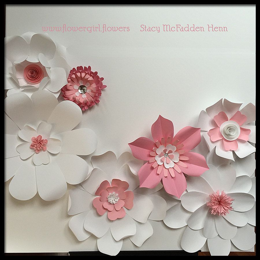 Giant paper flowers for wall or backdrop wedding event party diy