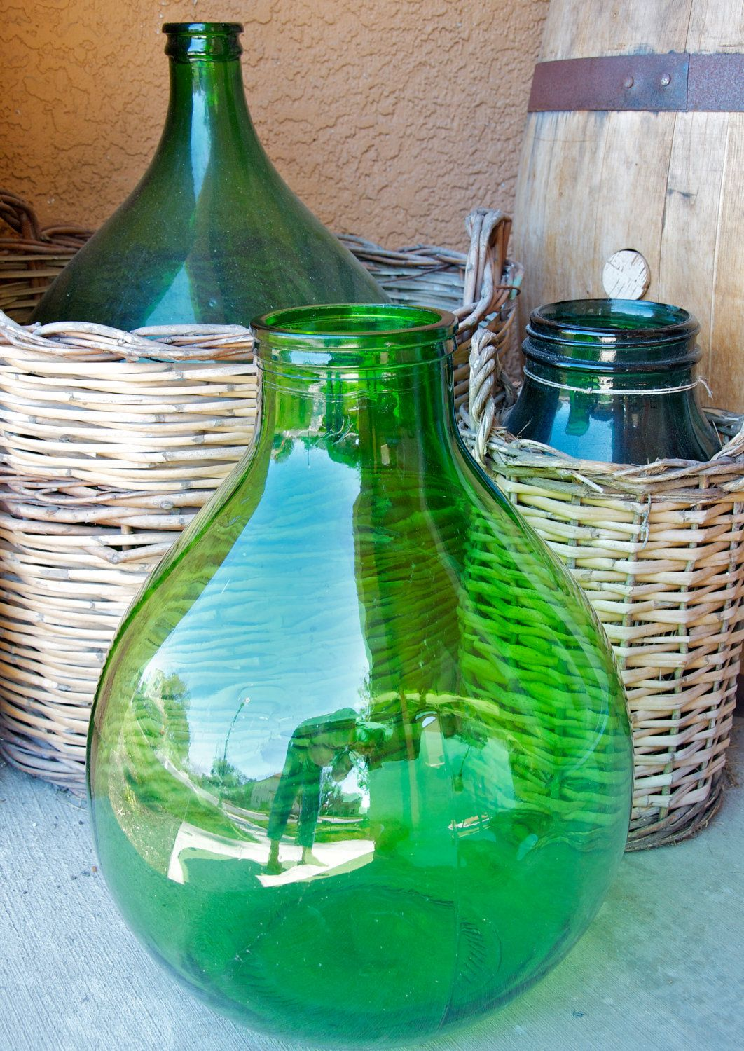 Large Vintage Italian Demijohn Unique Wide Mouth Green Glass