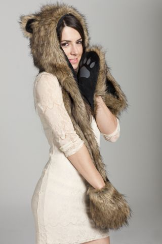 4160388488f Wild Grizzly Bear Faux Fur Animal Hat Hood with Paws