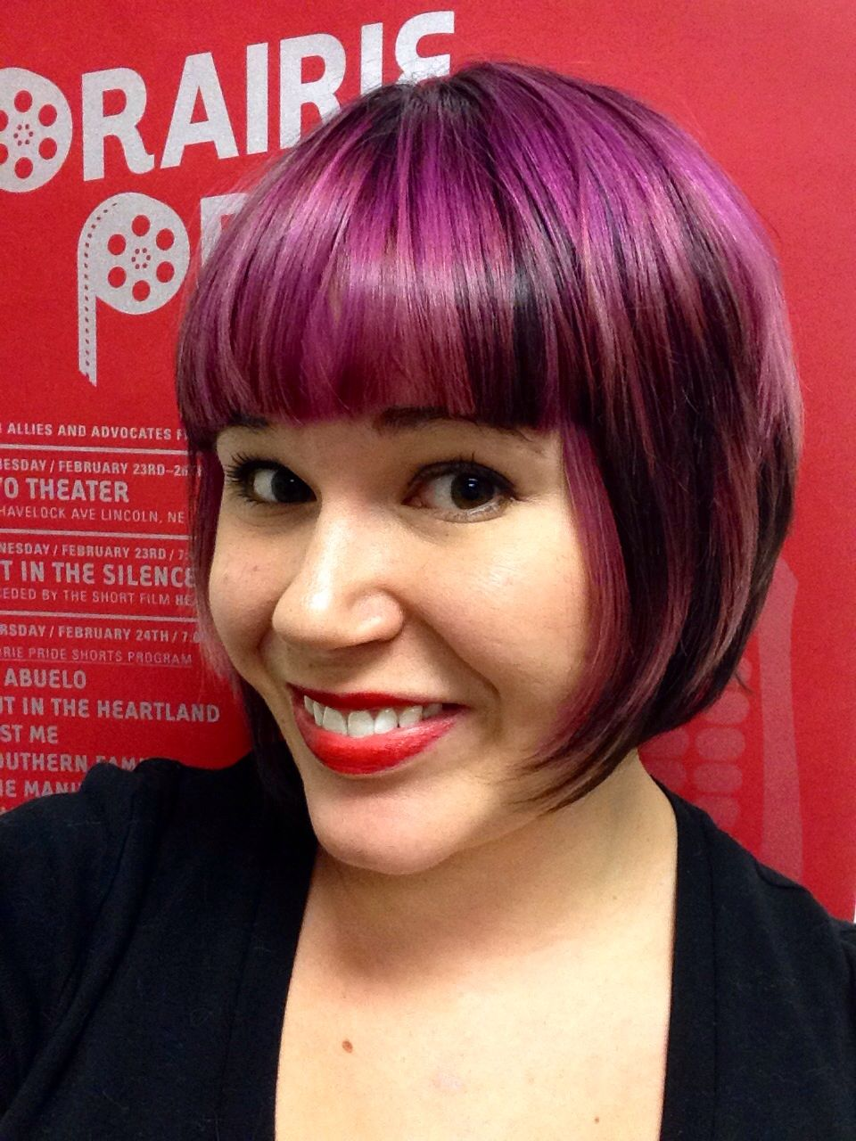 Purple Highlights - Short Bob with Bangs