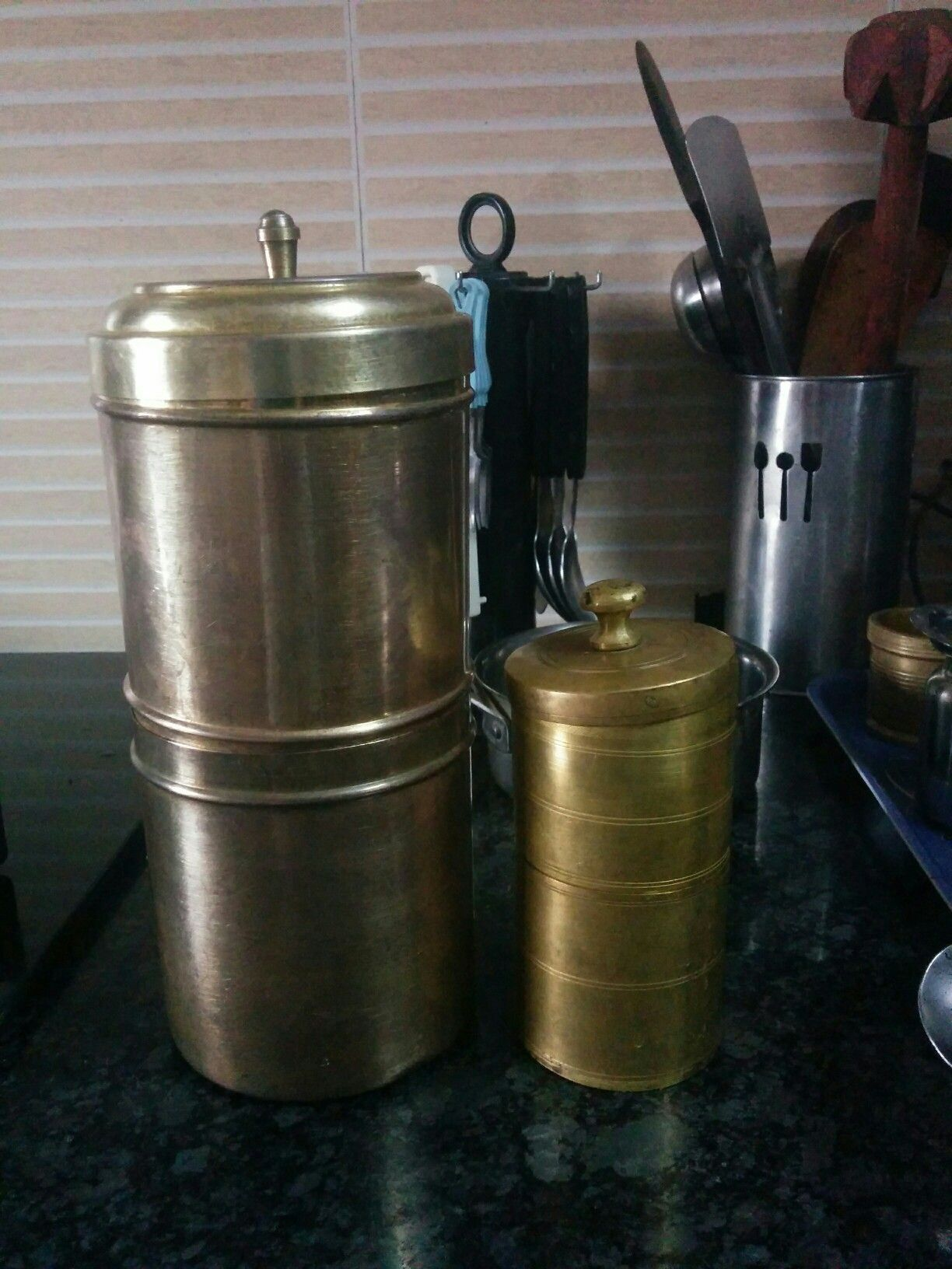Big and small vintage brass coffee filters Mud house