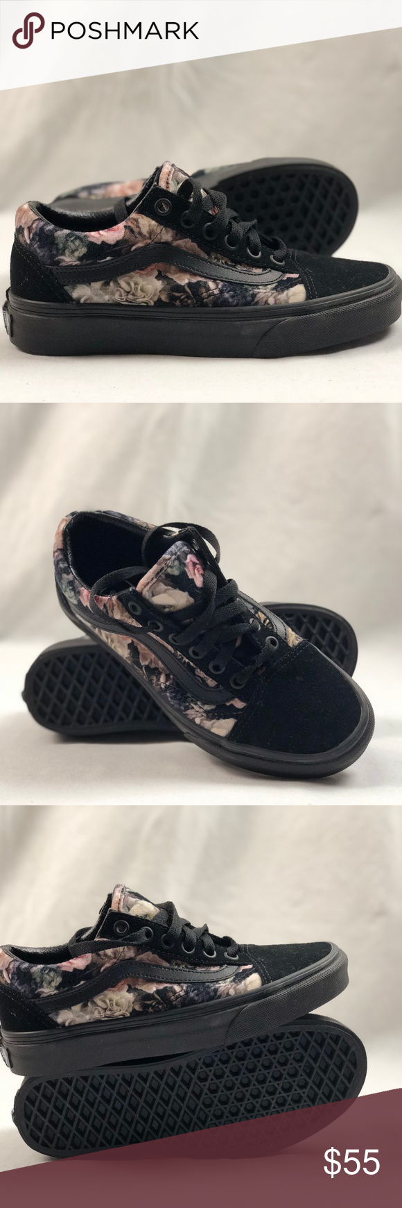 f778bba0a31072 Vans Old Skool Velvet Floral Black Sneakers. Vans Old Skool Velvet Floral  Black Sneakers. Condition  New with box. Size  Women s 5