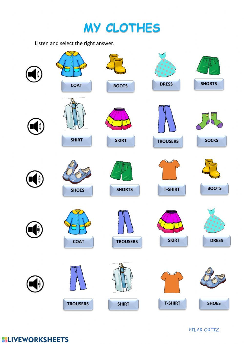 Clothes interactive and downloadable worksheet. You can do the exerc…    English games for kids [ 1413 x 1000 Pixel ]