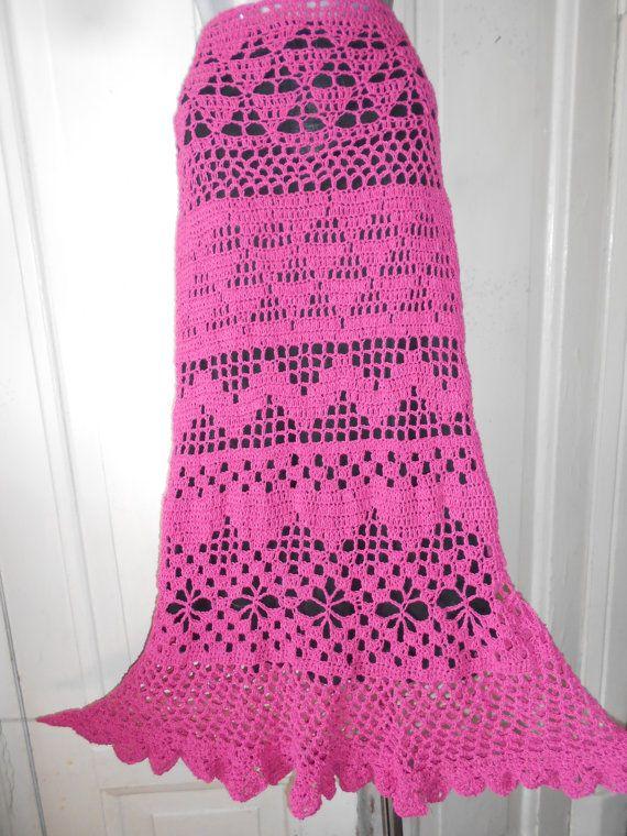Crochet Skirt Long Cotton Skirt Gypsy Skirt Maxi Skirt Floor-Length ...