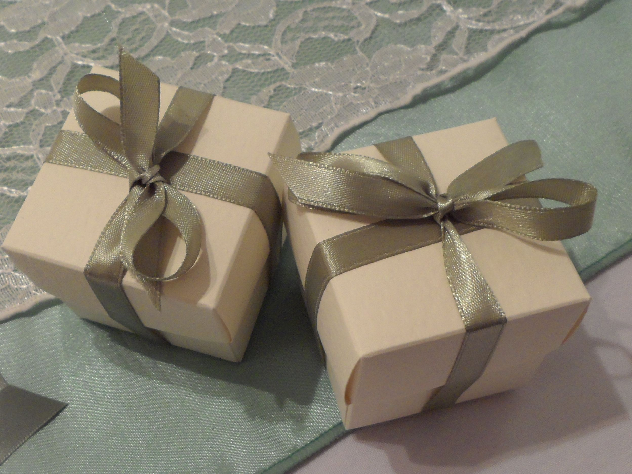 Ivory Favor Boxes with Sage Green Ribbon