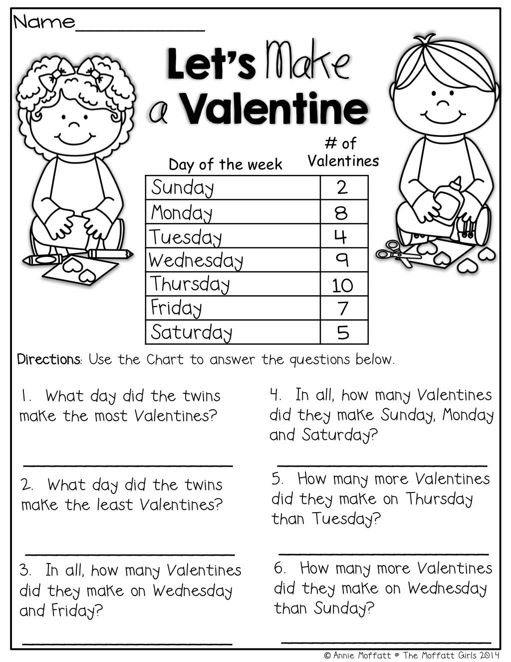 The Moffatt Girls: Valentine NO PREP Packets!   1st grade activities [ 1325 x 1024 Pixel ]