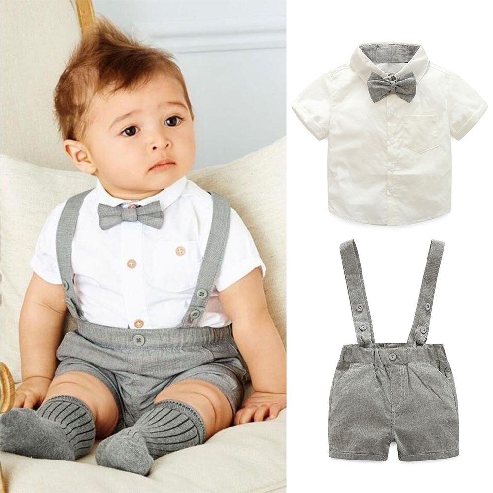 5995300b New Fashion Gentleman Style Baby Boys Formal Clothes Set White Short Sleeve  T-Shirt with Bow Tie Suspenders Short Pant Outfits