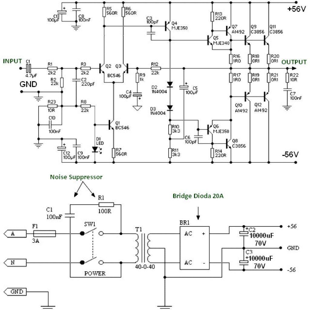150w Power Amplifier Using Transistor