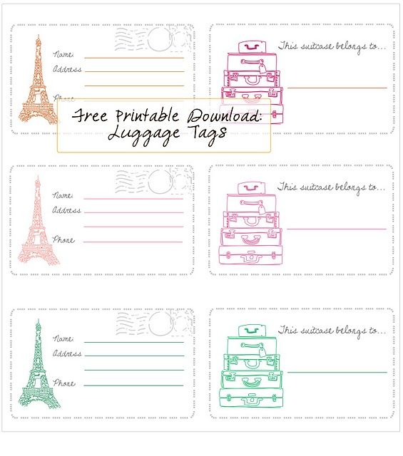 In Honor Of Design Free Printable Luggage Tags Label Seni