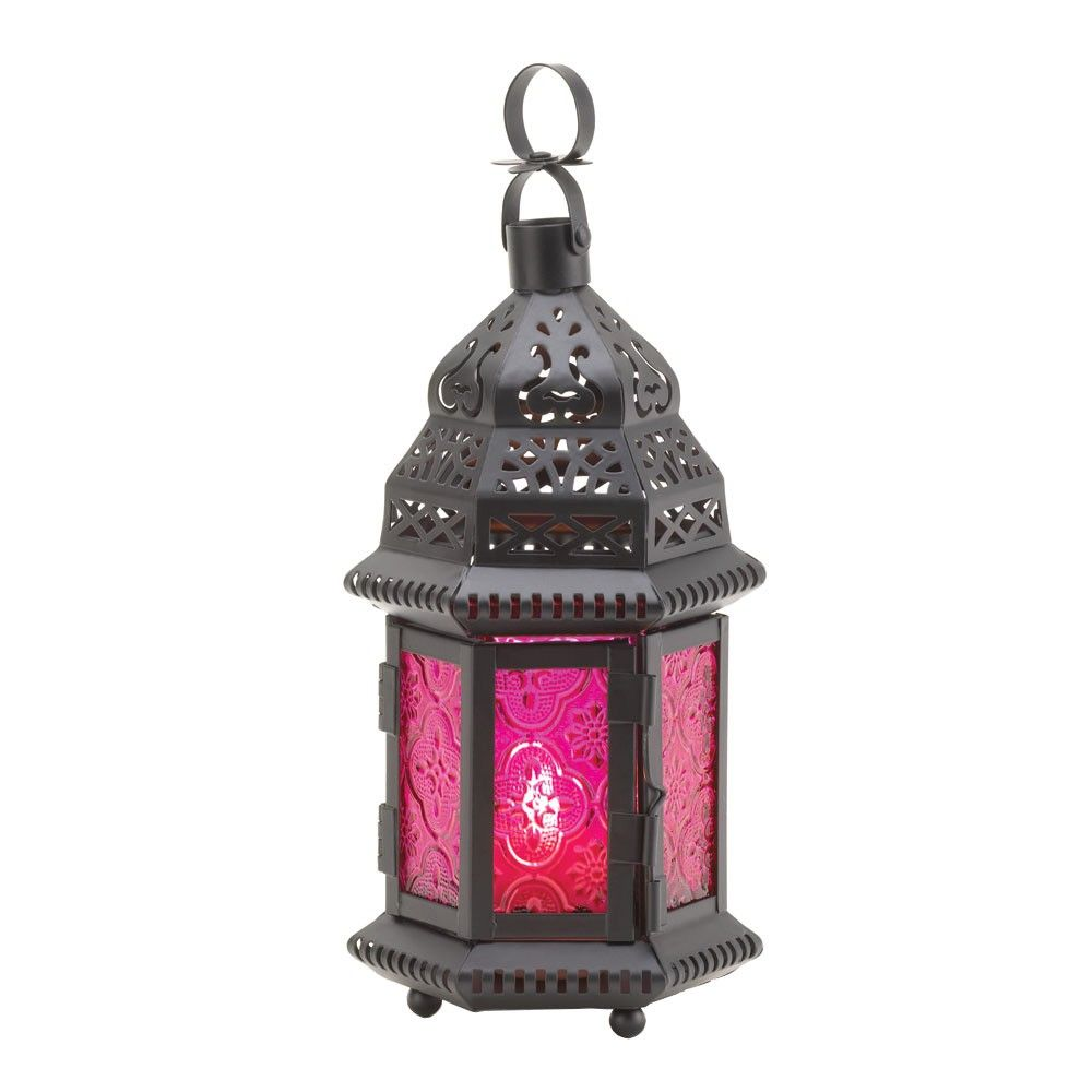 Wholesale Moroccan Lantern Small Black Fuchsia Glass Candle Lantern Candle Lanterns Hanging Candle Lanterns