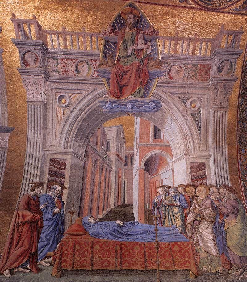 ANDREA DEL CASTAGNO Dormition of the Virgin 1442-43 Mosaic Basilica di San Marco, Venice