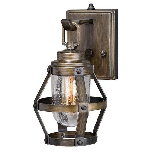 Bruges 1 Light Dusk To Dawn Bronze Industrial Cage Outdoor Wall Lantern Clear Glass 6 In W X 11 In H X 8 In D Wall Lights Vaxcel Outdoor Wall Lantern