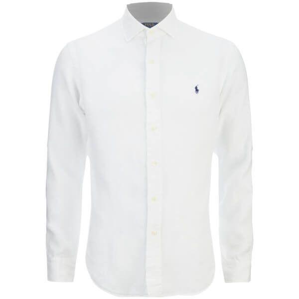 Polo Ralph Lauren Men's Slim Fit Long Sleeve Linen Shirt - White ...