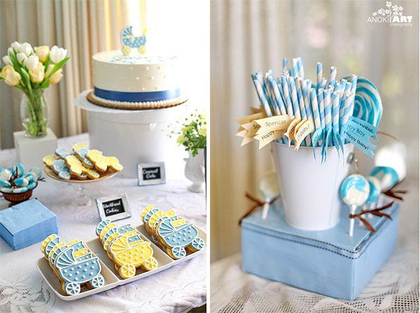 c mo decorar una mesa dulce de bautizo en blanco y azul