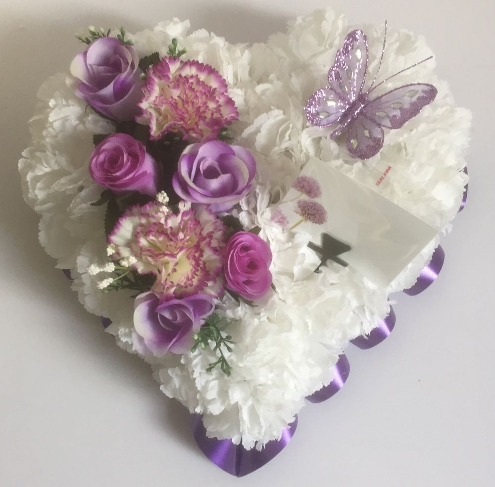 Angel really beautiful design and speaks for its self flowers heart shaped silk artificial funeral flowers wreathmemorialgrave tribute izmirmasajfo