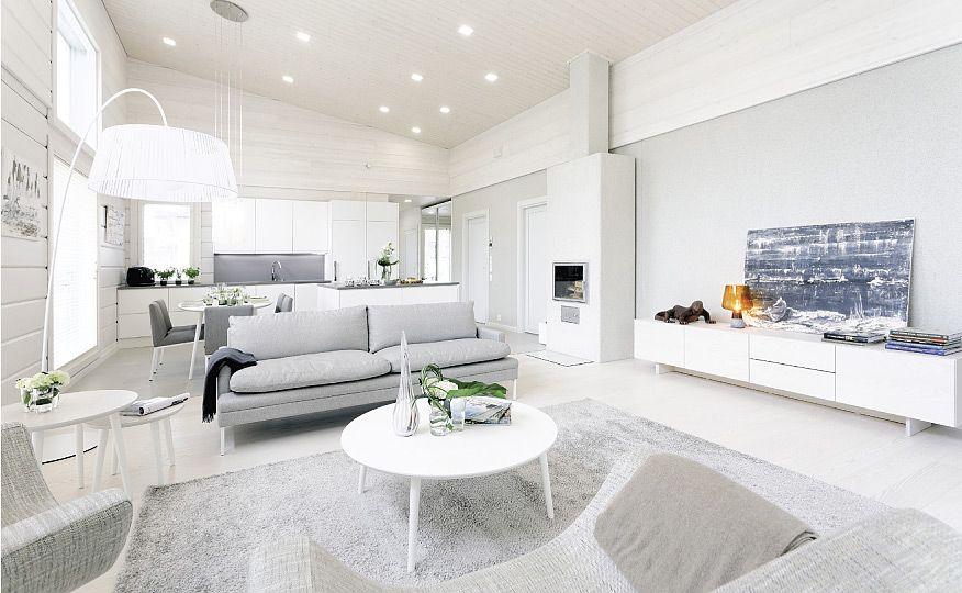 Kontion moderni hirsitalo Jyväskylän asuntomessuilla