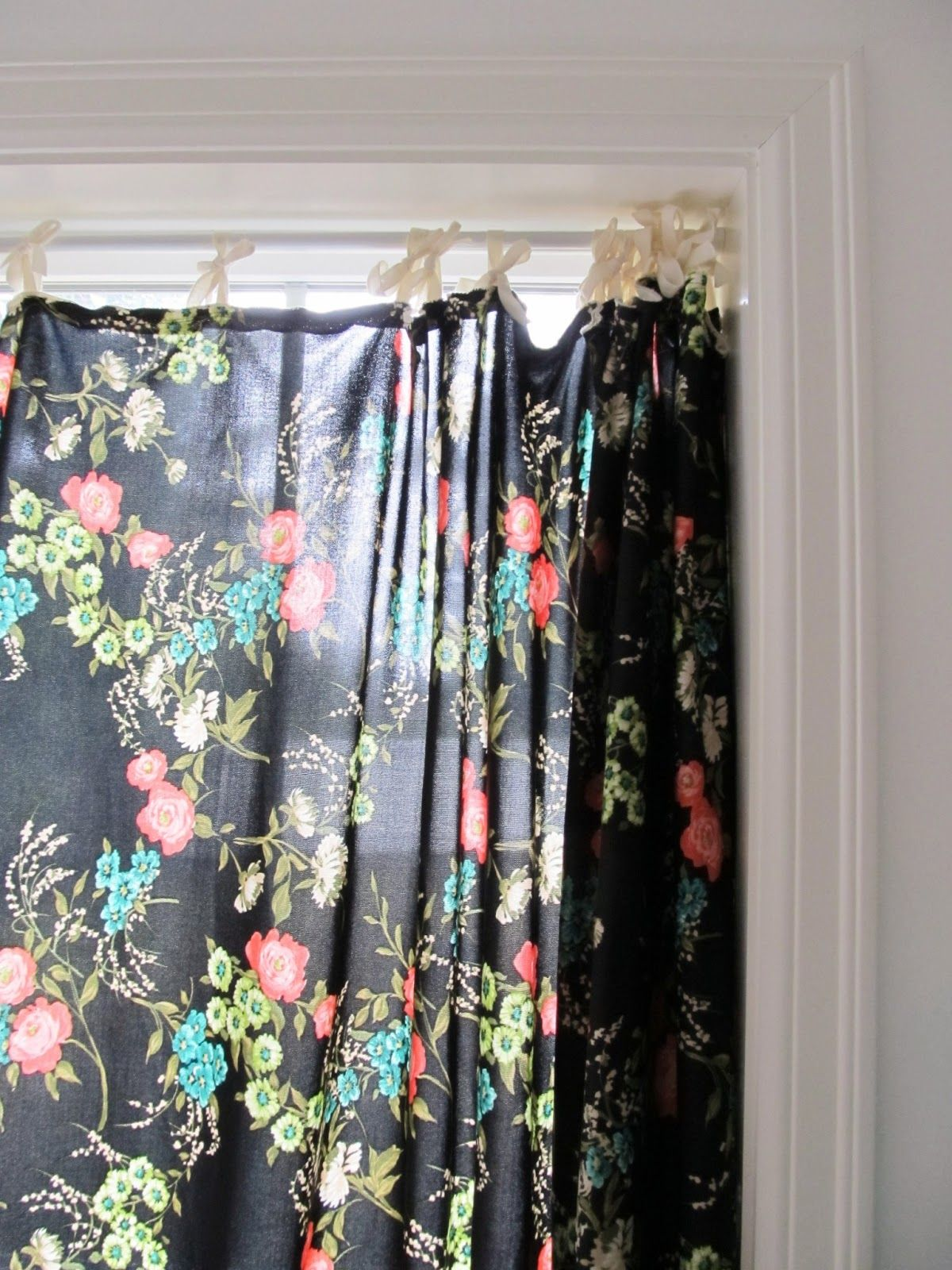 floral curtain - black + pink + blue + green dottie angel | Color ...