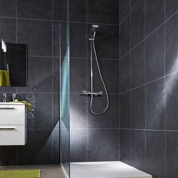 Lambris Adhésif PVC ELEMENT PREMIUM Gris Lambris Pvc Lambris Et Pvc - Mur salle de bain lambris pvc