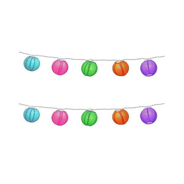 10ct Electric String Lights With Nylon Lanterns Multi Color 24