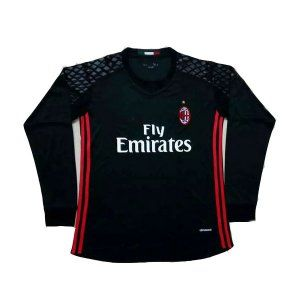 cb467294b 16-17 Cheap AC Milan Goalkeeper LS Black Replica Football Shirt  I00561