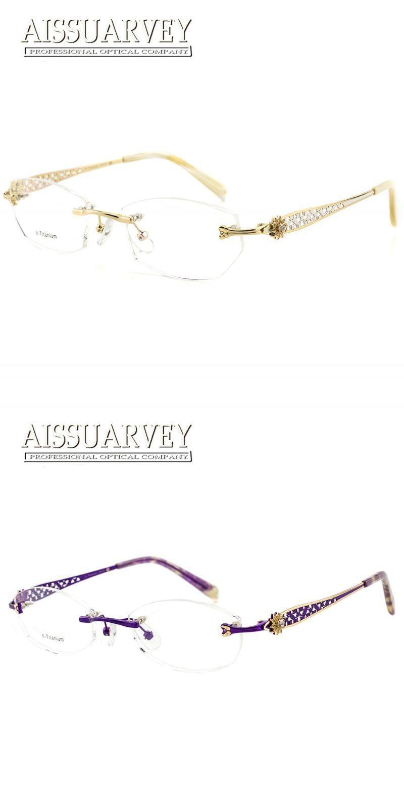 b988668512 Rimless eyeglasses frames women glasses fashion optical prescription  titanium diamond rhinestone hollow brand designer eyewear