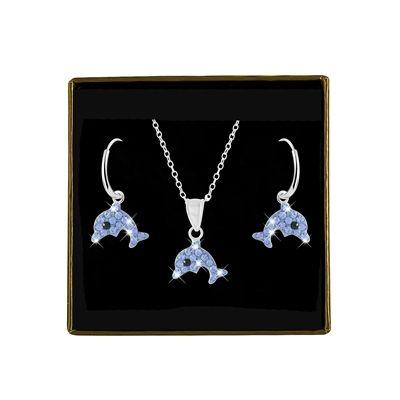 Zilveren set ketting&oorbellen dolfijn met kristal (1031402)