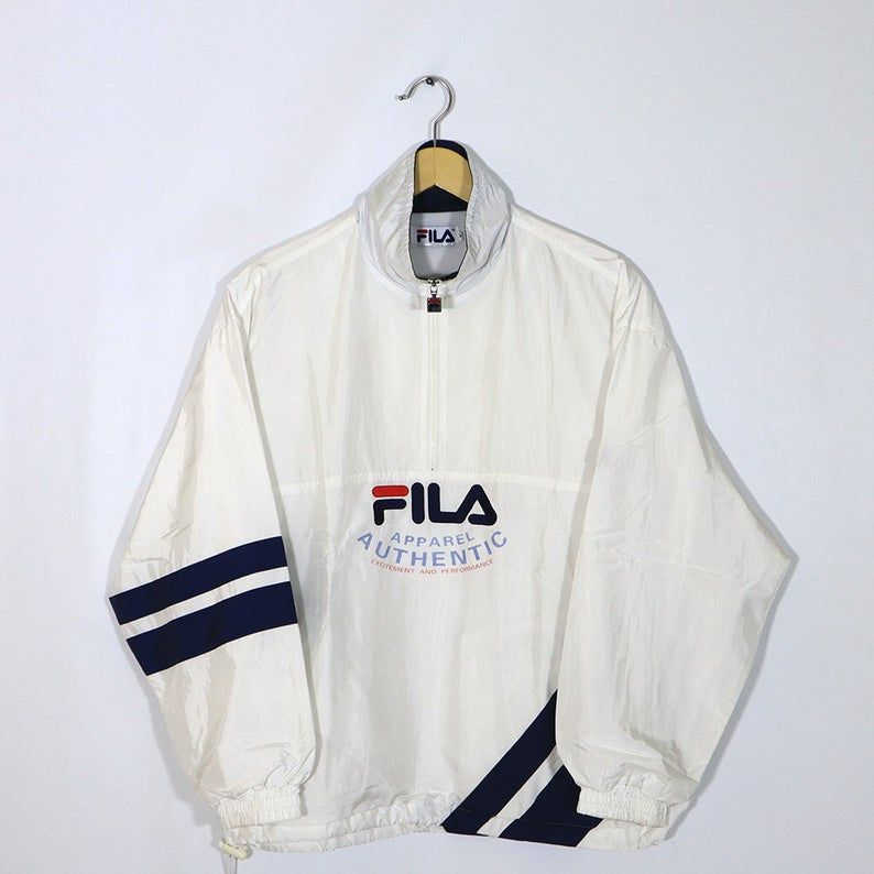 Vintage 90s Fila Windbreaker Pullover Jumper Halfzip 1 4 Etsy Fila Windbreaker Vintage Jacket Men Tennis Sweater
