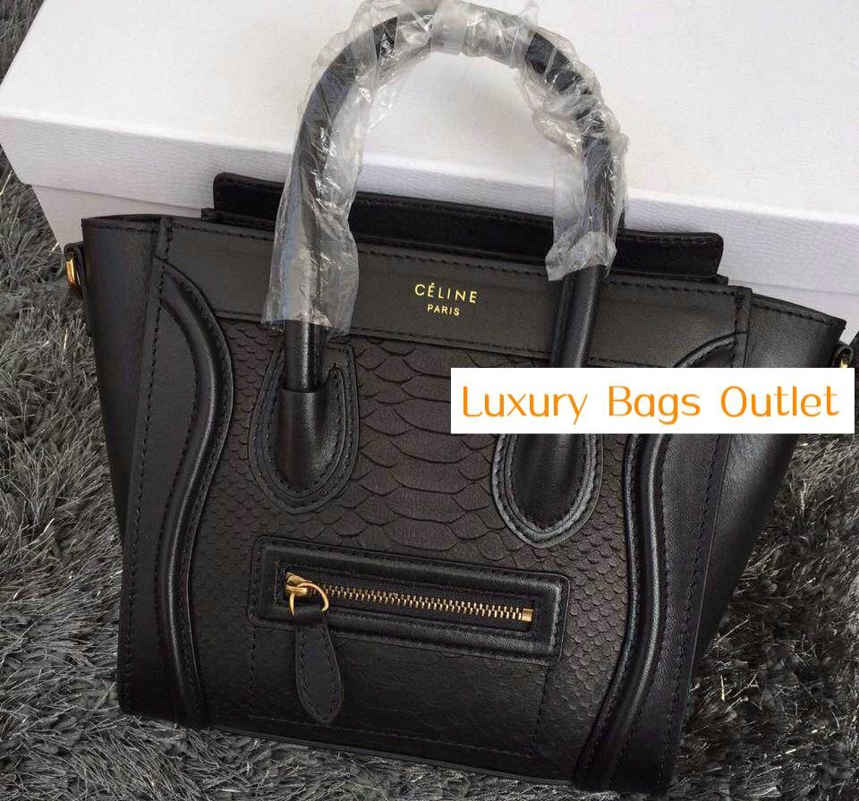DiscountCelineLUGGAGE Celine Black Python Veins Micro Luggage Bag (AWEI- 031113 ) 5a83566df79a1
