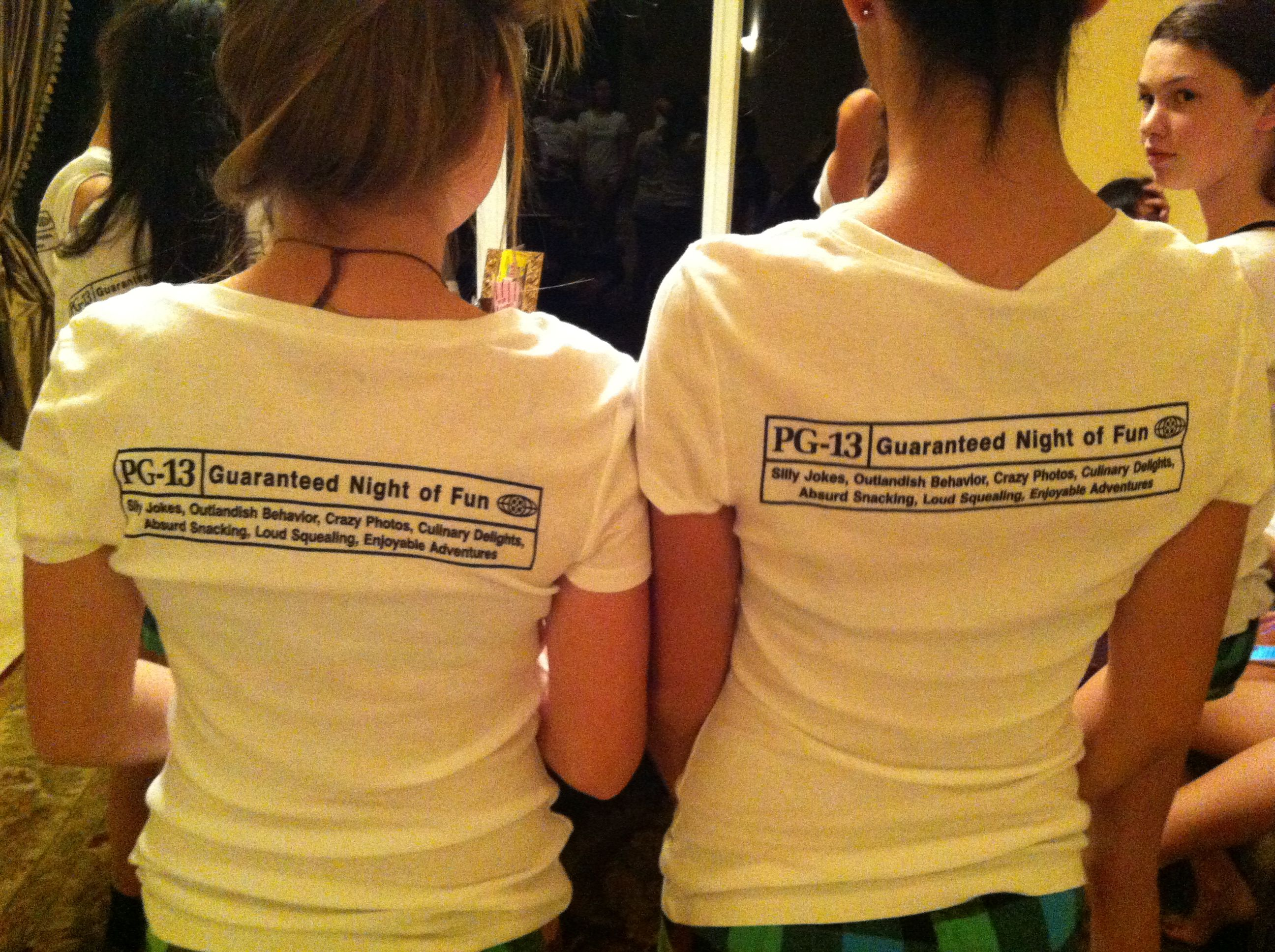 PG 13 Party Girl Slumber Party T Shirts Printed By