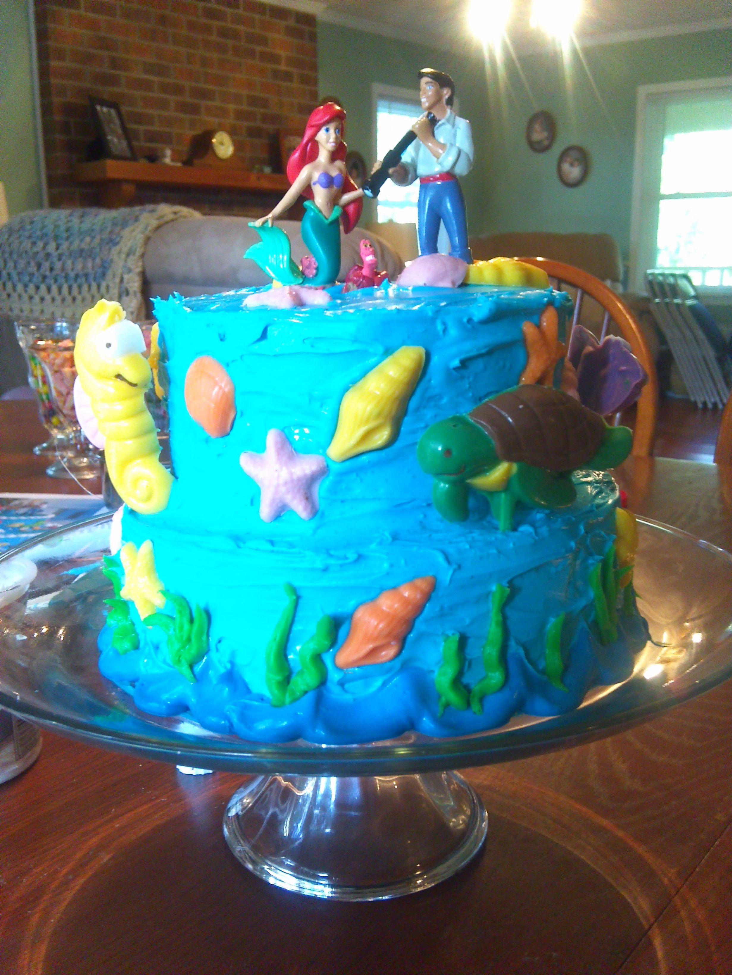 Little Mermaid Birthday Cake Made Using 4 Round Cake Pans 2 Lg 2