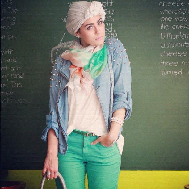 studded denim, head wrap | turban