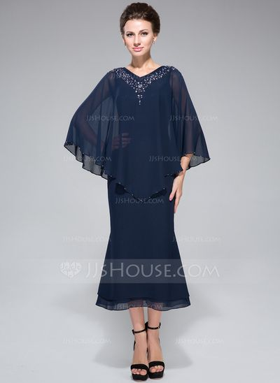 20753ee524 Trumpet Mermaid V-neck Tea-Length Chiffon Mother of the Bride Dress With  Beading Sequins (008042889)