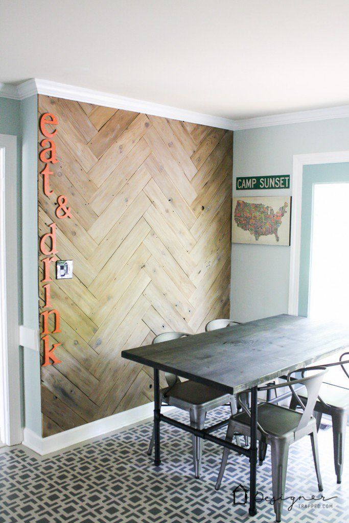 Diy plank wall in herringbone made from old fence designer trapped