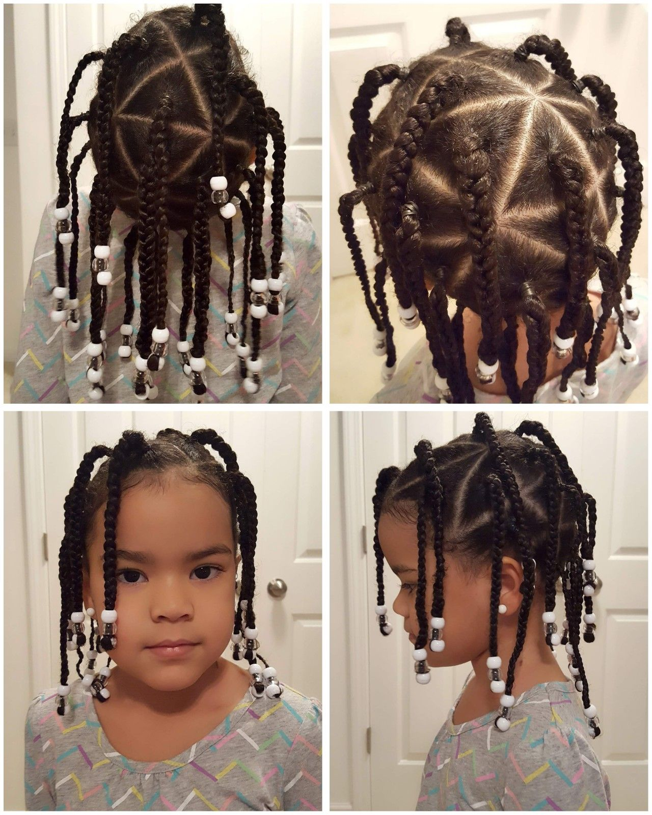 Triangle Braids With Beads On Biracial Girl Mixed Girl Hairstyles Hair Styles Mixed Kids Hairstyles Mixed Girl Hairstyles