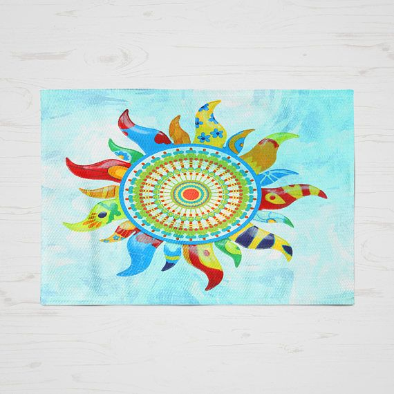 Fl Throw Rug Area Rugs Boho Chic Bohemian Sun